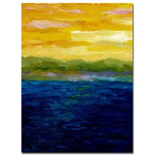 Michelle Calkins 'Gold and Pink Sunset' 35x47 Canvas Wall Art