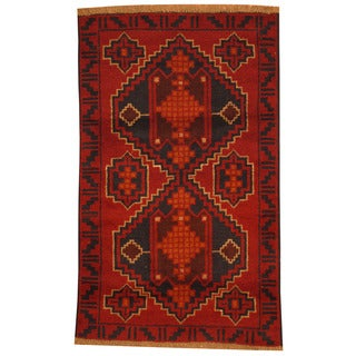 Herat Oriental Afghan Hand-knotted Tribal Balouchi Red/ Navy Wool Rug (2'8 x 4'4)