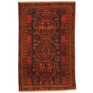 Herat Oriental Afghan Hand-knotted Tribal Balouchi Wool Rug (2'10 x 4'5)