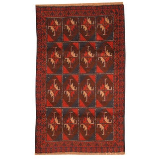 Herat Oriental Afghan Hand-knotted Tribal Balouchi Wool Rug (2'10 x 4'9)