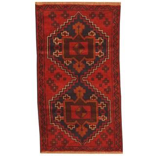Herat Oriental Afghan Hand-knotted Tribal Balouchi Wool Rug (2'7 x 4'7)