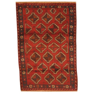 Herat Oriental Afghan Hand-knotted Tribal Balouchi Red/ Brown Wool Rug (3' x 4'7)