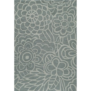 Hand-tufted Palma Bloom Blue Polyester Rug (5' x 7'6)