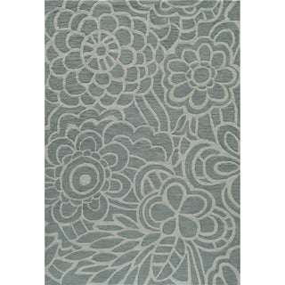 Hand-tufted Palma Bloom Blue Polyester Rug (2' x 3')