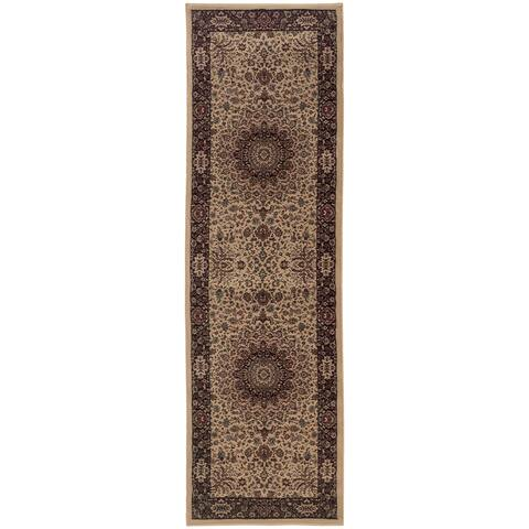 "Updated Old World Persian Flair Ivory/ Black Rug (2'3 x 7'9) - 2'3"" x 7'9"" Runner"