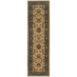 Updated Old World Persian Flair Ivory/ Blue Rug (2'3 x 7'9)