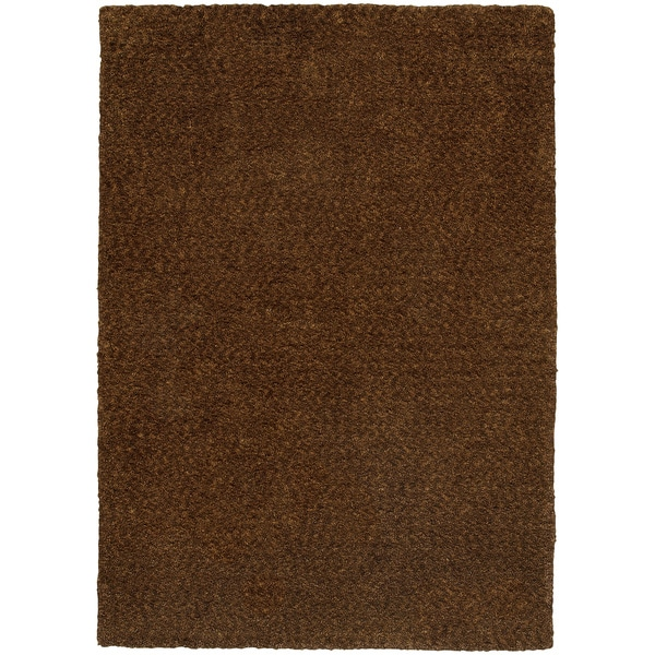 Cozy Indulgence Heathered Brown Shag Rug (3' x 5') - 3' x 5'