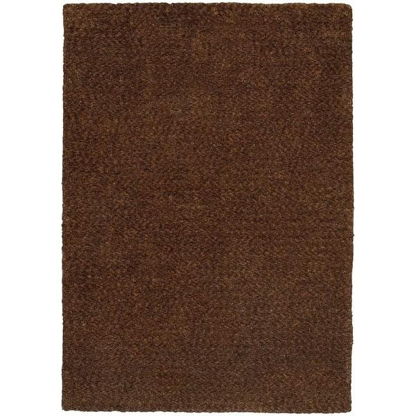 Cozy Indulgence Heathered Brown Shag Rug (3' x 5')