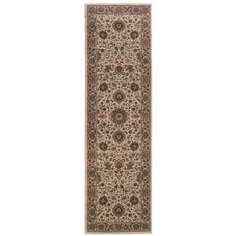 "Updated Old World Persian Flair Ivory/ Green Rug (2'7"" X 9'4"") - 2'7"" x 9'4"" Runner"
