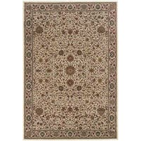Updated Old World Persian Flair Ivory/ Green Area Rug - 4' x 5'9