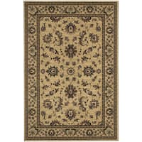 Updated Old World Persian Flair Ivory/ Green Rug - 4' x 5'9