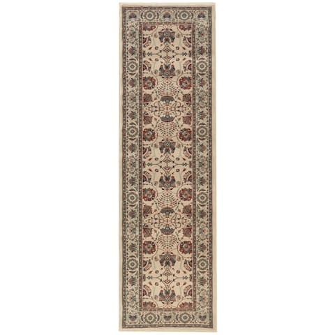 "Updated Old World Persian Flair Ivory/ Red Rug (2'7 x 9'4) - 2'7"" x 9'4"" Runner"