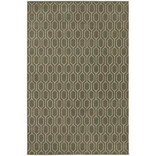 Geometric Lattice Heathered Grey/ Ivory Rug (3'10 x 5'5)