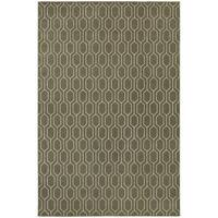 Geometric Lattice Heathered Grey/ Ivory Rug - 3'10 x 5'5