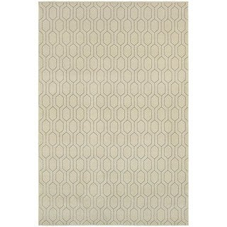 "Geometric Lattice Heathered Ivory/ Grey Rug (3'10"" X 5'5"")"