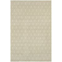 Geometric Lattice Heathered Ivory/ Grey Rug - 3'10 x 5'5