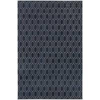 Geometric Lattice Heathered Navy/ Grey Area Rug - 3'10 x 5'5