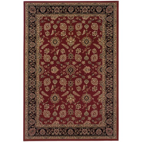 Updated Old World Persian Flair Red/ Black Rug (4' x 5'9) - 4' x 6'