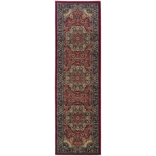 Updated Old World Persian Flair Red/ Blue Rug (2'7 x 9'4)