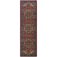 "Updated Old World Persian Flair Red/ Blue Rug (2'7 x 9'4) - 2'7"" x 9'4"" Runner"