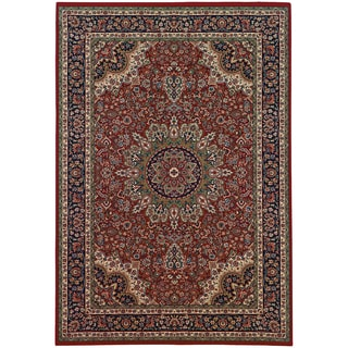 Updated Old World Persian Flair Red/ Blue Rug (4' x 5'9)