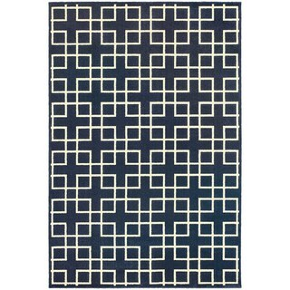 Geometric Trellis Heathered Navy/ Ivory Rug (3'10 x 5'5)