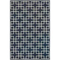 Geometric Trellis Heathered Navy/ Ivory Rug - 3'10 x 5'5