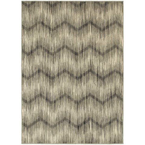 "The Gray Barn Cattail Abode Chevron Ikat Grey/ Ivory Rug - 3'10"" x 5'5"""