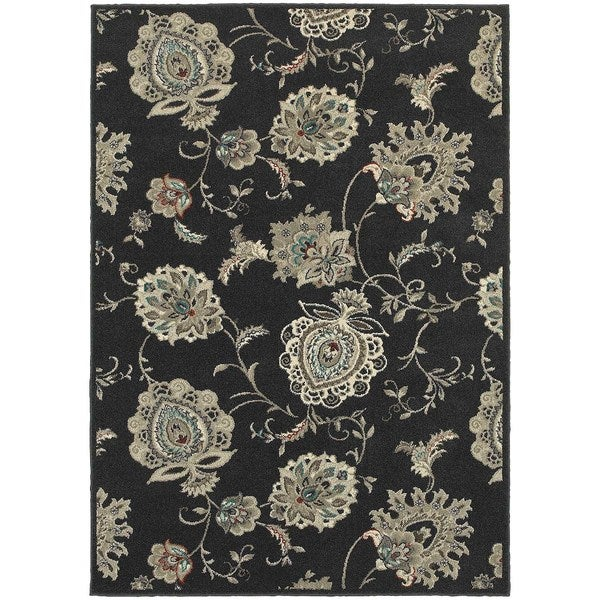 "Global Influence Floral Midnight/ Ivory Rug (3'10"" X 5'5"")"