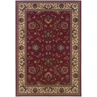 Updated Old World Persian Flair Red/ Ivory Rug (4' x 5'9)