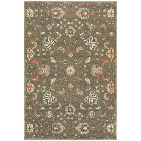 Updated Traditional Floral Grey/ Multi Rug (3'10 x 5'5)