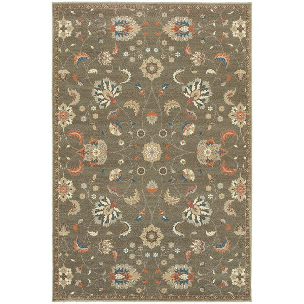 "Updated Traditional Floral Grey/ Multi Rug (3'10 x 5'5) - 3'10"" x 5'5"""