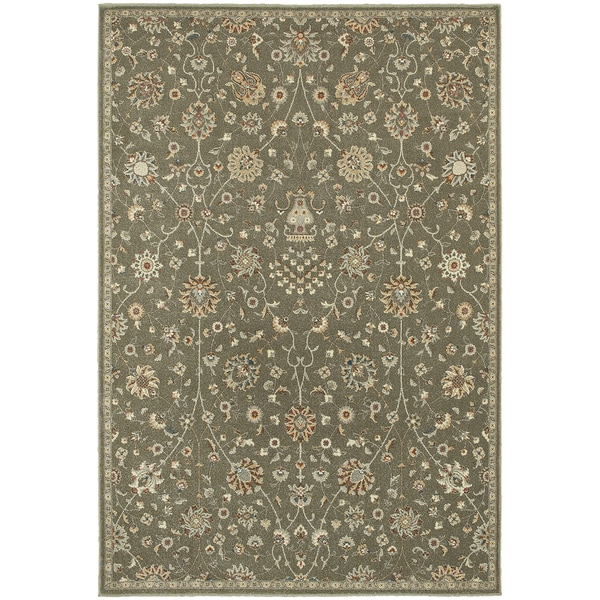 "Updated Traditional Floral Grey/ Multi Rug - 3'10"" x 5'5"""