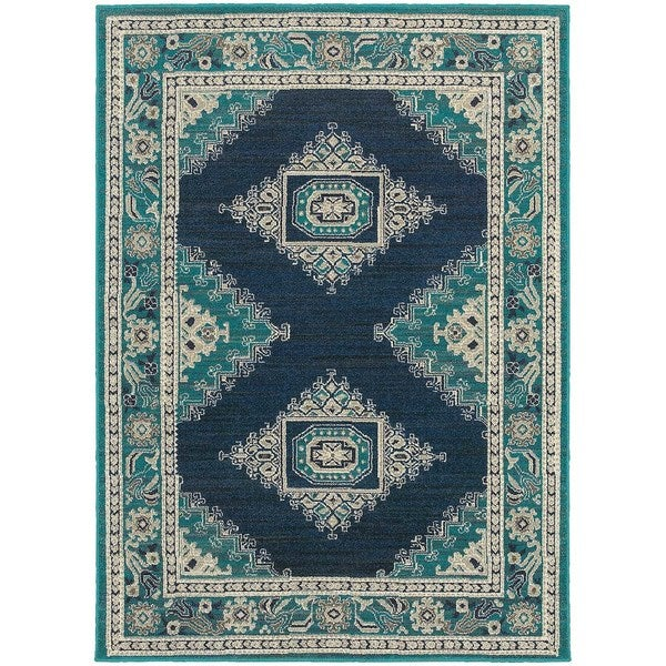 Global Influence Persian Blue/ Ivory Rug (3'10 x 5'5)
