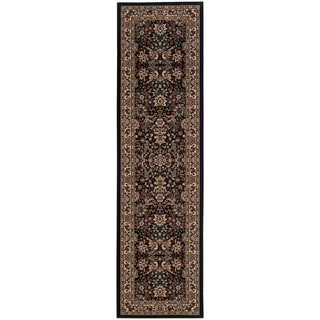 Gracewood Hollow Flanagan Persian Flair Black/ Ivory Runner Rug - 2'3 x 7'9