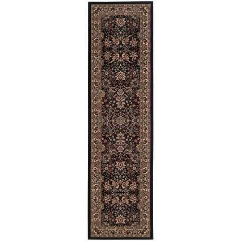 "Gracewood Hollow Alexie Persian Flair Black/ Ivory Runner Rug - 2'7"" x 9'4"" Runner"