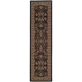 Updated Old World Persian Flair Black/ Ivory Rug (2'7 x 9'4)
