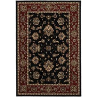 """Updated Old World Persian Flair Black/ Red Rug (4'X 5'9"""") - 4' x 6'"""