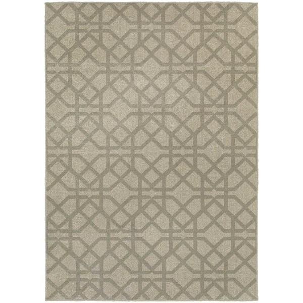 Global Influence Geometric Lattice Grey/ Beige Rug (3'10x5'5)