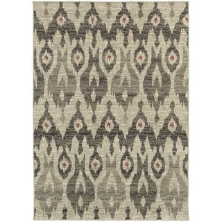 Global Influence Tribal Ikat Ivory/ Grey Rug (3'10 x 5'5)