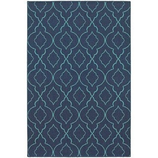 StyleHaven Lattice Navy/Blue Indoor-Outdoor Area Rug (3'7x5'6)