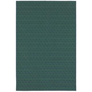 """StyleHaven Geometric Navy/Green Indoor-Outdoor Area Rug (3'7x5'6) - 3'7"""" x 5'6"""""""