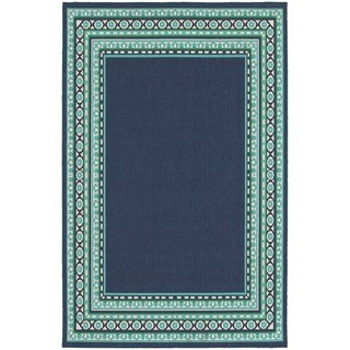 StyleHaven Borders Navy/Green Indoor-Outdoor Area Rug (3'7x5'6)