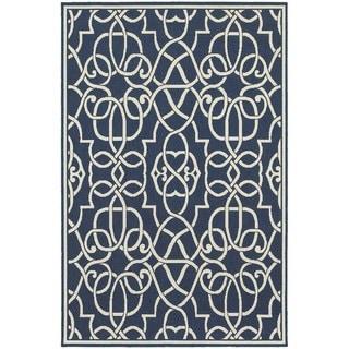 Floral Lattice Navy/ Ivory Indoor Outdoor Rug (3'7 x 5'6)