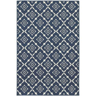 Carson Carrington Landskrona Lattice Navy/Ivory Indoor-Outdoor Area Rug - 3'7 x 5'6