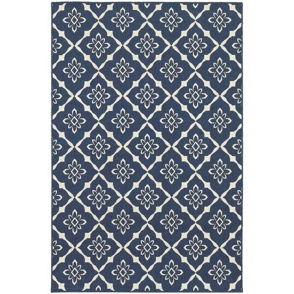 StyleHaven Lattice Navy/Ivory Indoor-Outdoor Area Rug (3'7x5'6)