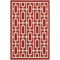 StyleHaven Geometric Red/Ivory Indoor-Outdoor Area Rug - 3'7 x 5'6