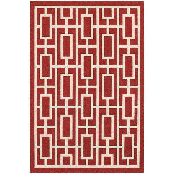 StyleHaven Geometric Red/Ivory Indoor-Outdoor Area Rug (3'7x5'6)