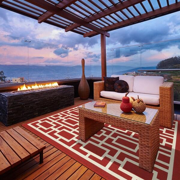 StyleHaven Geometric Red/Ivory Indoor-Outdoor Area Rug - 3'7 x 5'6