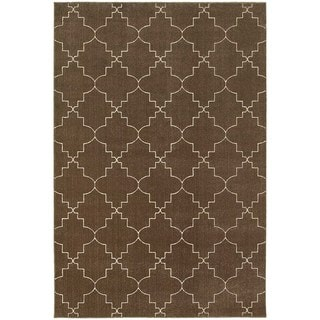 Scalloped Lattice Heathered Brown/ Ivory Rug (3'10 x 5'5)